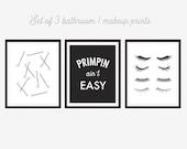 Primpin' Ain't Easy, Bathroom Prints, Powder Room, Makeup Art, Eyelashes Print, Bobby Pins Print, Black and White