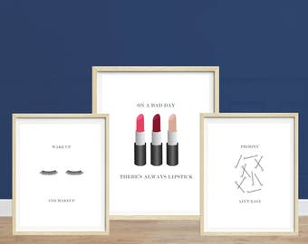 Makeup Prints, Primpin' Ain't Easy, Lipstick Print, Eyelashes Print, Bobby Pins Print, Bathroom Art, Makeup Art Prints