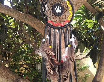 4 directions dream catcher  black leather