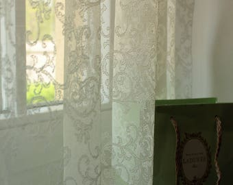STELLA' Stunning French Embroidered Light Ivory Color Continuous Lace Full Lenght Net Curtain Sale By the Yard or Made To Order