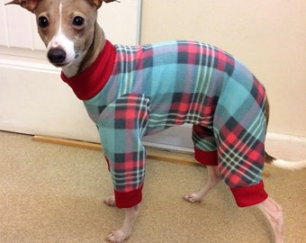 "Dog Pajamas.  Italian Greyhound Pajamas.""Sweet Plaid Pajamas"". Dog Clothes. Pajamas for dogs. Small Dog Clothes. Onesie for dog. Dog onesie"