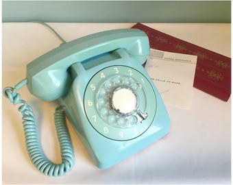 Vintage Blue Rotary Dial Phone, Retro Automatic Electric Northlake Illinois, Retro 1960's Phone, Home Decor, Stage Prop, Made In The USA.