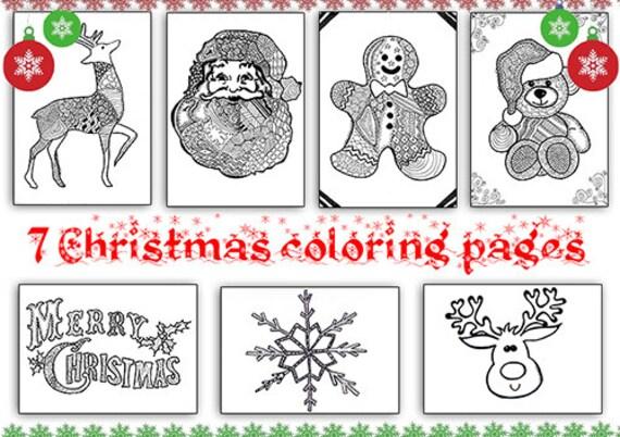 Set disegni di natale 7 pagine da colorare zentangle libro da - Pagine da colorare divertenti stampabili ...