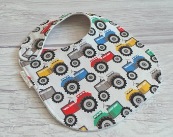 Tractor Baby Bib / Side Snap Baby Bib / Drool Bib / Organic Cotton Fleece / Tractors / Baby Boy / Farm Baby Bib / Country Baby / Farmer
