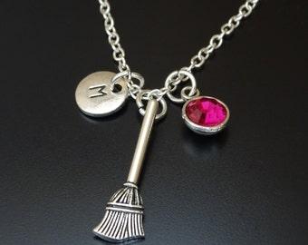 Broom Necklace, Broom Charm, Broom Pendant, Sweeper Necklace, Witch Necklace, Witch Jewelry, Witch Broom Charm, Witch Broom Pendant