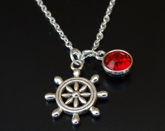 Ship Wheel Necklace, Ship Wheel Charm, Ship Wheel Pendant, Ship Wheel Jewelry, Nautical Necklace, Nautical Jewelry, Sea Necklace, Captain
