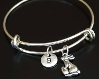 Rabbit Bangle Bracelet, Adjustable Expandable Bangle Bracelet, Rabbit Charm, Rabbit Pendant, Rabbit Jewelry, Easter Rabbit, Bunny Bracelet