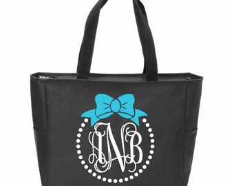 Bow and Pearls Monogrammed Zip Tote