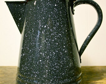 """Antique Enamelware Coffee Pot w/ lid - Black with grey speckle - Graniteware - 10"""" tall"""