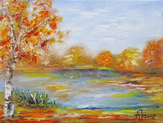 Paysage peinture petit arbre peinture arbre art automne