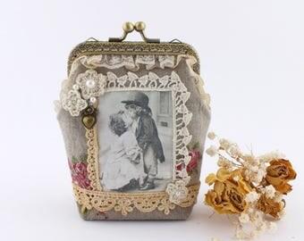 Kiss lock Coin purse Card wallet Linen pouch Coin pouch Frame purse Clasp coin purse Kisslock purse Lipstick pouch Small pouch Change purse