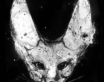 Fennec Fox, Fennec Fox Art, Animal Art Print, Fox Art, Black and White Animal, Wildlife Art, Black And White Art, Fennec fox illustration