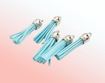 Long Tassels - 10 Light Blue with Silver Cap - 58mm Decorative Tassels For Jewelry - Purse Tassels - Key Chain Tassel Pendants - TL-S089