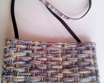 handwoven plastic canvas clutch multi colour yarn, missoni look, embroidered with yarn chic unique and elegant handbag with suede lining