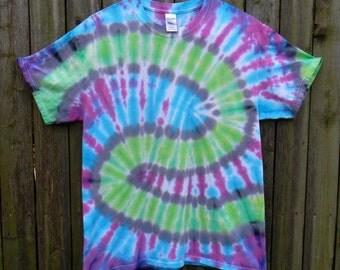 Backwards S Neon Tie Dye T-Shirt (L)