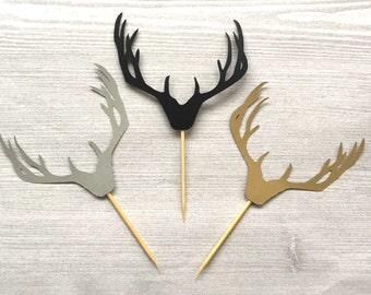 Set of 12 Antler Cupcake Toppers / Gold / Black / Silver / Deer Head / Woodland / Hunting / Hunter / Food Picks / Rack /