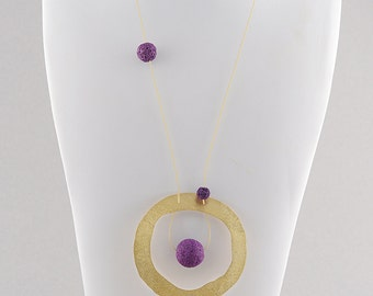 Gold circle with purple sandlava,bronze,goldplated,purple,sandlava,necklace,motif,new,jewelry,gift for her