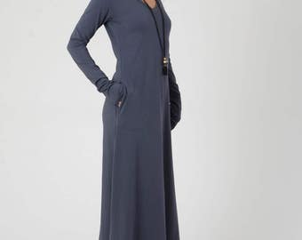 V Neck Maxi Dress, Blue Maxi Dress, Jersey Dress, Women's Dresses, Classy Dress, A Shape Long sleeve Dress, Blue Gray Dress with Pockets