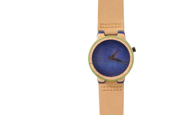 7PLIS watch #21 Recycled SKATEBOARD #madeinfrance bleu brown wood