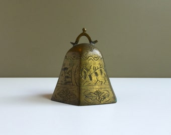 Vintage Brass Bell, Vintage Cow Bell, Six Sided Bell, Indian Brass