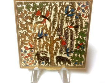 Vintage Art Deco Garden of Eden Volupte Powder Compact Gazelles Birds