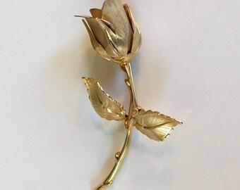 Vintage Giovanni Brushed Gold Tone Rose Brooch Signed