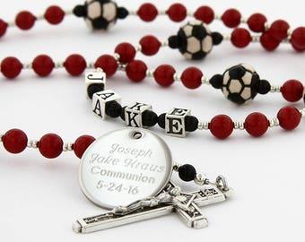 First Communion Rosary, Boy Rosary, Sports Rosary, Boy Communion Gift, Personalized Rosary, Catholic Rosary, Communion Bead, SoccerRedBl