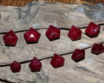 "THE VAULT: 8"" Strands of Graduated Puff Star Cut Ruby Drops #72 6mm To 9mm One of a Kind Unusual Cut Very Pretty Top Dril"