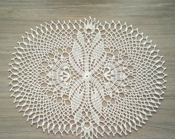 Oval linen table mat, crochet linen doily, linen fiber decor, large linen mat, large crochet doily, large wedding doily, vintage doilies