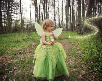 Tinkerbell Fairy dress for Birthday costume or Photo shoot Tinkerbell dress outfit Birthday dress costume Princess dress for Birthday party