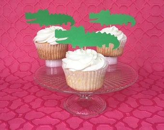 Alligator Cupcake Toppers - Gator - Green - Sports Team - Birthday Party - Florida - Birthday Party - Tropical - Baby Shower - Cake Topper