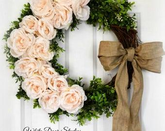 Blush Pink Rose Wreath | Spring Wreath | Front Door Wreath | Romantic Wreath | Farmhouse Wreath Decor | Wedding Wreath | Housewarming Gift