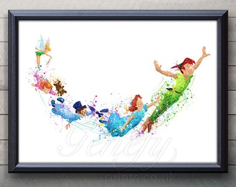 Disney Peter Pan Watercolor Art Poster Print - Wall Decor - Artwork- Painting - Illustration -Kids Decor - Nursery Decor [2]