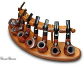 Wooden Pipe Stand for 7 Smoking Pipes HANDMADE Ash-Tree Wood Pipe Stand Pipes Showcase Rack Holder Tobacco Pipe Wooden Display, + Engraving