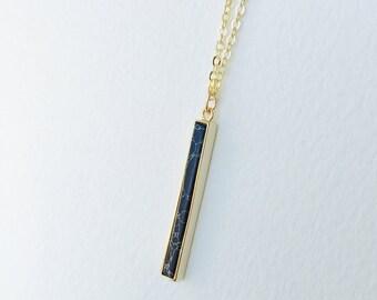 Black Marble Gold Bar Drop Necklace, Minimalist Bar Drop Necklace, Black Marble and Gold, Marble Pendant Necklace, Simple