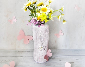 Recycled Flower Vase, Paper Mache Vase, Upcycled Flower Vase, Spring Vase, Rustic Home Decor, Handmade Vase, Sculpture Art, Mother Day Gift
