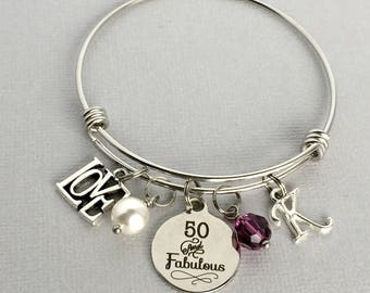 50th Birthday Bracelet, 50 and Fabulous, Personalized 50th Birthday Bracelet, 50th Birthday Gift for Women, Friend Birthday Gift