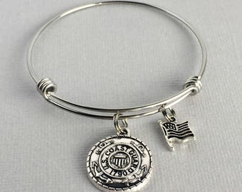 Coast Guard Charm Bangle, Coast Guard Bracelet, Military Jewelry, Coast Guard Mom, Coast Guard Wife, Coast Guard Jewelry, MIL001