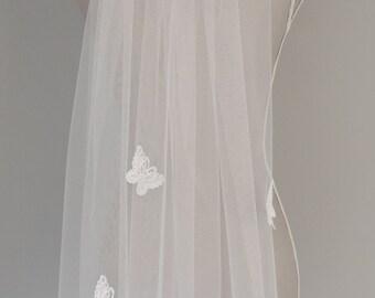 Ivory Fingertip Butterfly Wedding Veil ] Butterfly wedding Veil ]Knee Length Wedding Veil ] Single Tier Ivory wedding Veil ] Wedding veil ]