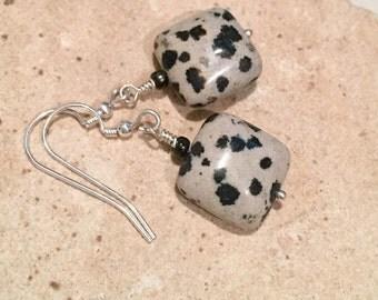 Black and tan drop earrings, dalmatian jasper earrings, stone earrings, seed beads earrings, dangle earrings, sundance style earrings