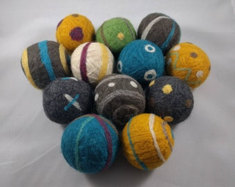 Handmade Wool Dryer Balls with Needle Felting, Assorted Colors and Designs