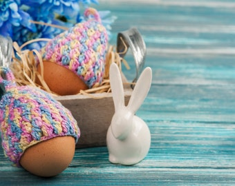 Set of 6 Crochet egg cozy, Warmer for eggs, Easter decoration, home decor, yellow pink blue