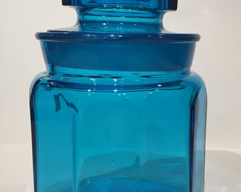 Blue cookie jar etsy - Blue glass kitchen canisters ...