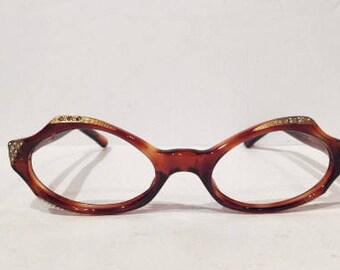 Vintage Tortoise Rhinestone Cat Eye Glasses, New Old Stock, Tortoise Shell Cateye Eyeglass Glasses Frames, NOS, 60's Amber Tortoise Cateye,