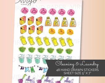 Cleaning & Laundry Day Planner Stickers - Cleaning, Laundry, Wash Clothes, Sweeping - Watercolor Planner Stickers - Cleaning Laundry