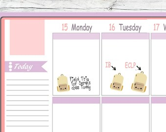 Kawaii IB or ECLP Brown Backpack Stickers Planner Midori  Notebook Calendar Journal Use With Erin Condren Planner