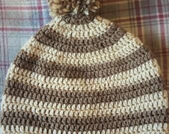 Brown & Beige Striped Pompom Beanie