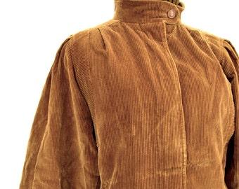 Camel Brown Corduroy Jacket Fur Lined Coat | Quilted Puffy Coat | Long Winter Coat | Mock Neck Puff Sleeve Vintage Coat DAVID BENJAMIN Med