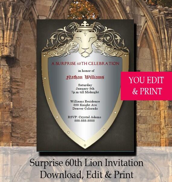 60th Surprise Birthday Invitation, 60th Birthday