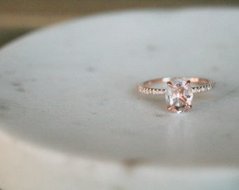 Oval Morganite Ring, Diamond Rose Gold Morganite Engagement Ring, Rose Gold Morganite Ring, Engagement Ring, Morganite